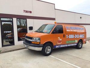 Mold removal Van at Job Site